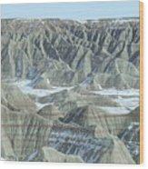 Badlands Under Snow Wood Print
