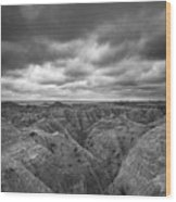 Badlands White River Valley Bw Wood Print