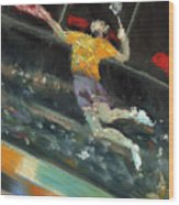 Badminton Player Wood Print