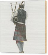 Bag Piper On A Maine Beach Wood Print