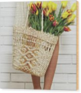 Bag With A Bouquet Of Tulips Wood Print