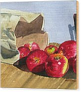 Bag With Apples Wood Print