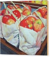 Bags Of Apples Wood Print