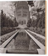 Bahai Temple Reflecting Pool Wood Print