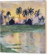 Bahama Palm Trees Wood Print