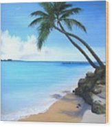 Bahamian Twin Palms Wood Print