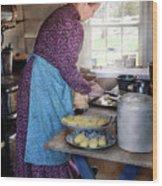 Baker - Preparing Dinner Wood Print