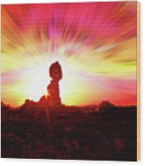 Balanced Rock Sunset - Fire In The Sky Wood Print