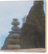 Balanced Stones At La Push Wood Print