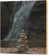Balanced Stones Waterfall Wood Print