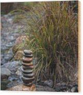 Balancing Zen Stones In Countryside River V Wood Print