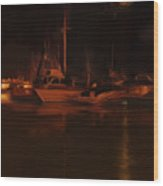 Balboa Island Newport Bay Night Wood Print