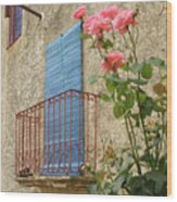 Balcony And Roses Wood Print