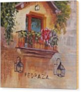 Balcony In Bloom Wood Print