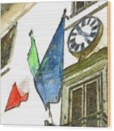 Balcony With Flags And Clock Wood Print
