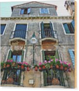 Balcony With Flowers In Venice, Italy Wood Print