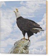 Bald Eagle Art - Speak Your Voice Wood Print