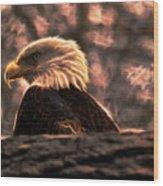 Bald Eagle Electrified Wood Print