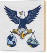 Bald Eagle Hold Scales Earth Money Retro Wood Print