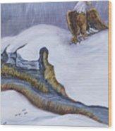 Bald Eagle On Snowdrift Wildlife Vignette Wood Print