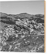 Bald Mountain Rock Formation In Black And White Wood Print