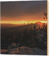Bald Mountain Sunset Wood Print