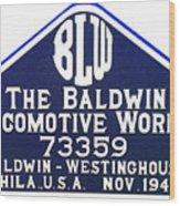 Baldwin Diesel Builders Plate Wood Print