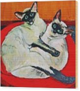 Balinese Cats Hugging Wood Print