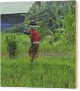 Balinese Lady Carrying Pot Wood Print