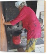 Balinese Lady Roasting Coffee Leans Again Wall Wood Print