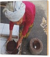 Balinese Lady Sifting Coffee Wood Print