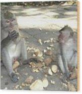 Balinese Monkeys Eating Wood Print