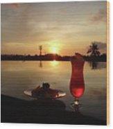 Balinese Orange Sunset With Drink Wood Print