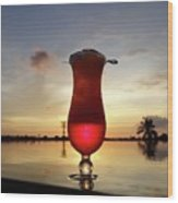 Balinese Sunset With Red Drink Wood Print