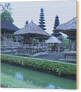 Balinese Temple By The Water Wood Print