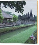 Balinese Temple With Flower Wood Print