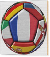 Ball With Flag Of France In The Center Wood Print