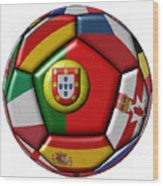 Ball With Flag Of Portugal In The Center Wood Print