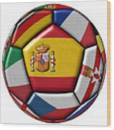 Ball With Flag Of Spain In The Center Wood Print