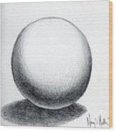 Ball With Shadow Wood Print