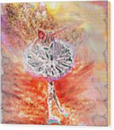 Ballerina Bowing With Flowers Wood Print