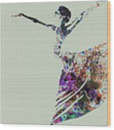 Ballerina Dancing Watercolor Wood Print