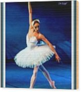 Ballerina On Stage L A With Decorative Ornate Printed Frame. Wood Print