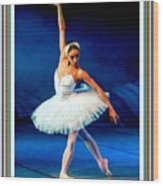 Ballerina On Stage L B With Alt. Decorative Ornate Printed Frame. Wood Print
