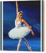 Ballerina On Stage L B With Decorative Ornate Printed Frame. Wood Print