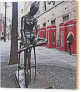 Ballerina Statue And Telephone Boxes Wood Print