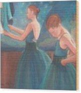 Ballerinas In Blue Backstage Wood Print