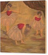 Ballerinas With Blue Hair Wood Print