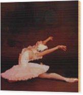 Ballet Dancer In White  Wood Print