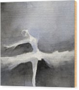 Ballet Dancer In White Tutu Watercolor Paintings Of Dance Wood Print